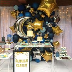 We have got some amazing decor ideas for you this Ramadan. Celebrate your Iftars with these beautiful balloon decorations :) Get in touch… Ramadan Decoration, Party Decoration, Balloon Decorations, Birthday Decorations, Balloon Ideas, Balloon Display, Balloon Arch, Baby Shower Themes, Baby Boy Shower