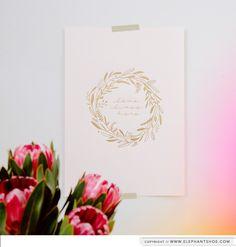 """LOVE LIVES HERE WREATH"" Gold Foil A3 size Elephantshoe.com Art Print on Blush, Black, Light Grey & Kraft.  photo by : Blackframe Photography for Elephantshoe"