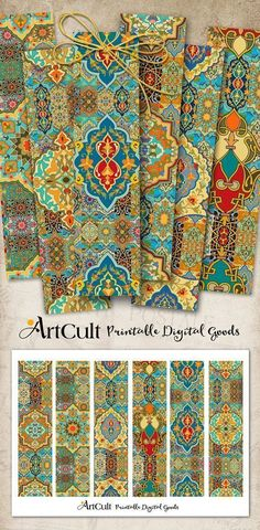 Printable digital moroccan boho style gift box layout do it printable digital collage sheet arabesque bookmarks instant download paper goods for journaling scrapbooking artcult printable solutioingenieria Images