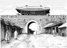 돈의문(敦義門) - 서대문이라 불이웠던 문  -  김영택님의 펜화로 그린 전통건축[2] - 궁궐 성곽