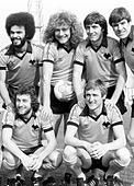 Wolves League Cup final players 1980 George Berry Robert Plant John Richards and Emlyn Hughes. Peter Daniel and - Stock Photo