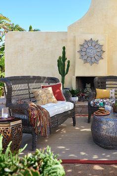 Pier 1's Sunset Pier Settee is naturally relaxing—even before you add the milk and cookies!  An open-air back, hand-woven construction, fully wrapped legs and rich textures mean you'll have a versatile look for your patio or porch.