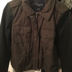 American eagle two tone jacket olive with black leather sleeves, never worn American Eagle Outfitters Jackets & Coats Utility Jackets