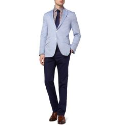 This powdery blue jacket goes ever so well with the navy blue trousers. Don't mind the shirt.