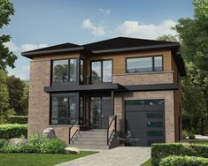 This two-storey house boasts a truly modern style with its large entrance porch, oversized windows and majestic ceilings. The home is 34 feet 10 inches wide by 40 feet deep and offers square feet of living space in addition to a 264 square-foot one Modern House Plans, Modern House Design, Architectural Design House Plans, Two Storey House, Contemporary Style Homes, Bedroom House Plans, Story House, Modern Exterior, Modern Architecture