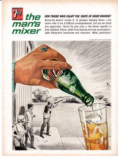 1964 Seven Up-Good With Whiskey + Skeet Shooting Original Magazine Ad-Soda Retro Advertising, Vintage Advertisements, Hires Root Beer, Skeet Shooting, Pop Ads, Vintage Coke, Magazine Ads, Retro Art, Beverage