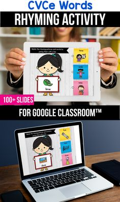 Looking for ideas for the google classroom for your kindergarten, first grade or special education kids? These activities are perfect for teachers to use in the classroom or for parents to use for homeschool. These CVCe word activities and games for beginners replace old and outdated worksheets. You can use them while distance learning to make learning CVCe words with pictures, short a, short e, short i, short o or short u easier. #googleclassroom #digitallearning #distancelearning… Rhyming Worksheet, Rhyming Activities, Learning Activities, Worksheets, Learning Tools, Teacher Tools, Teacher Resources, Classroom Resources, Classroom Decor