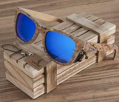 BOBO BIRD Square colorflauge wood sunglasses polarized