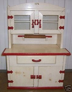 """Vintage Child size Hoosier Cabinet. Possibly a Salesman's Sample 1940's. Nice with original Rolling Pin, 2 Glass Doors. 29 1/2"""" Tall, 22 1/2"""" Wide, 12"""" Deep. by fravesco, ebay"""