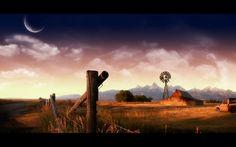 farm, Mountains, Machine