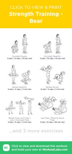 Strength Training - Bear – click to view and print this illustrated exercise plan created with #WorkoutLabsFit