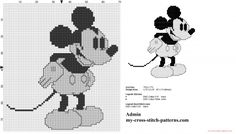 Disney vintage Mickey Mouse black and white cross stitch pattern (click to view)