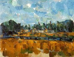 Riverbanks, 1905 by Paul Cezanne, Final period. Cubism. landscape. Private Collection
