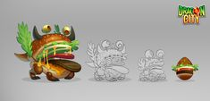 Concepts created for the Game Dragon City. I've designed the complete Fast Food themed island. Dragon City, Bowser, Concept, Island, Artwork, Food, Illustrations, Design, Work Of Art