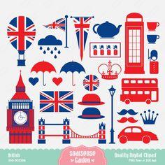 Un post que os va a encantar a los enamorados de Londres Un montón de stickers con temas londinenses. Ellos lo llaman clipart y no he enco...