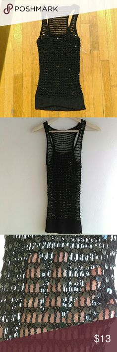 🎉SALE🎉 Black Fishnet Sequin Tank Top Black fishnet Sequin tank. Really cool tank top only wore it a couple times. It's a size small but I took out the tags the first time I wore it. It's really nice quality. Tops
