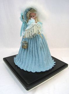 Barbie Doll Blue Custom Handmade Crocheted  Doll formal Dress with display case #Mattel