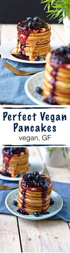 My search for the perfect #vegan and #glutenfree #pancake recipe is over! These will surely rock your boat: Fluffy, sweet, and tasty! A delightful breakfast or dessert. Make them even more amazing with nut butter and/or a #homemade blueberry sauce!