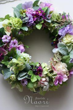 ミントと紫陽花のリース
