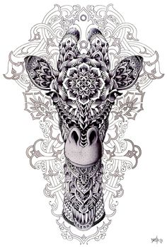 Zentangle inspiration .... Giraffe by BioWorkZ.deviantart.com on @deviantART