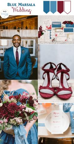Blue Marsala Wedding Inspiration Board - Dapper groom alert!