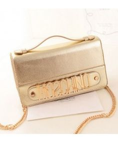 Moschino Women Leather Clutches Satchel Gold