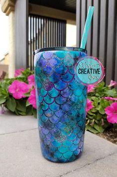 Cute Mermaid Scale Tumbler. Cute mugs, cute tumblers, cool mugs, unique mugs, galaxy mugs, mermaid mugs, coffee mugs, tea mugs, wine, gifts, shopping. #mugs #coffee #gifts #shopping #commissionlink