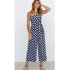 56e411e9d2b4 Mishenko Sexy Dot Print Strap Jumpsuits Wide Legs Summer Sleeveless  Backless Off Shoulder Casual Beach Rompers Womens Jumpsuits