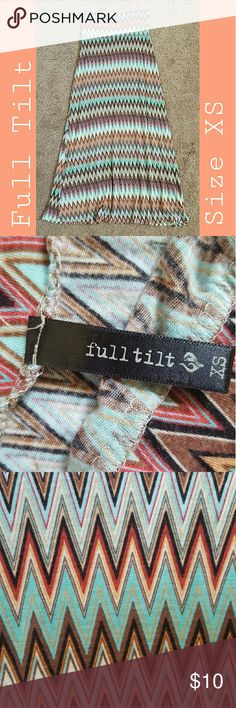 Full Tilt Chevron Print Maxi Skirt A cute and comfortable maxi skirt, made of very soft material.  ~ Size: EXTRA SMALL but can fit up to a MEDIUM. ~ Condition: Very good, only been worn a few times! (:  》 EVERYTHING MUST GO BY AUGUST 20TH! 《 Full Tilt Skirts Maxi