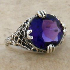 Metaphysical Gifts, Cards, Wrap and Crystals | Life Is A Gift Shop - Natural 4-Carat Amethyst in Antique Deco Design Sterling Filigree Setting - Size 8 Ring, $87.00 (http://lifeisagiftshop.com/natural-4-carat-amethyst-in-antique-deco-design-sterling-filigree-setting-size-8-ring/)
