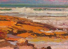 Washington Oaks Coquina Rocks St Augustine, plein air, marinescape oil painting by Robin Weiss, painting by artist Robin Weiss