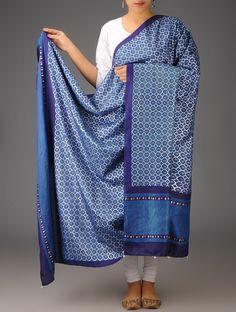 Buy Indigo Blue Mulberry Silk Khari Block Printed Dupatta Accessories Dupattas Free Bird Gajji and Sarees & Online at Jaypore.com