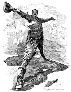 The Rhodes Colossus, an 1892 caricature of Cecil Rhodes after announcing plans for a telegraph line from Cape Town to Cairo. For Punch by Edward Linley Sambourne. World War I, World History, Art History, John Rhodes, New York Life, Jackie Robinson, A Day In Life, African History, Political Cartoons
