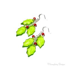 HOLLY BERRY Earrings Christmas Earrings by whimsydaisydesigns