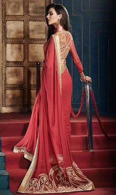 Gleaming Red Color Partywear Saree