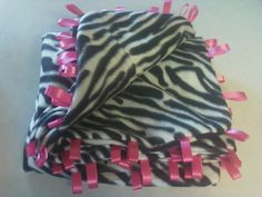 taggie blanket, zebra with hot pink ribbons