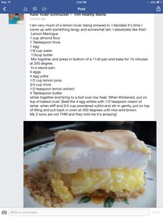 Thm - Trim Healthy Mama lemon meringue pie Used 4 heaps tablespoons gentle sweet in filling and 3 in meringue Trim Healthy Recipes, Trim Healthy Mama Plan, Low Carb Recipes, Snack Recipes, Cooking Recipes, Dessert Recipes, Snacks, Dessert Salads, Muffin Recipes