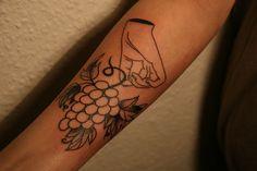 hand holding grapes tattoo by sonka nawojka Wine Tattoo, Hand Holding, Tattoos, Tatuajes, Hold Hands, Tattoo, Tattos, Tattoo Designs
