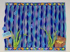 Ocean Fish Water Treasure Bulletin Board Classroom Door, Classroom Displays, Classroom Themes, Ocean Themed Classroom, Holiday Classrooms, Summer Bulletin Boards, Preschool Bulletin Boards, Fish Bulletin Boards, Rainbow Fish Bulletin Board