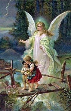 $4.75 - Angel Protects Children On Bridge Quilt Block Multi Szs Free Shipping World Wide #ebay #Home & Garden