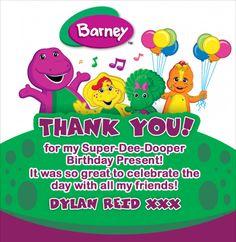 Thank you invitation for party Barney Birthday Party, Barney Party, 2nd Birthday Parties, Birthday Fun, Birthday Presents, Birthday Party Decorations, Birthday Ideas, Party World, Barney & Friends