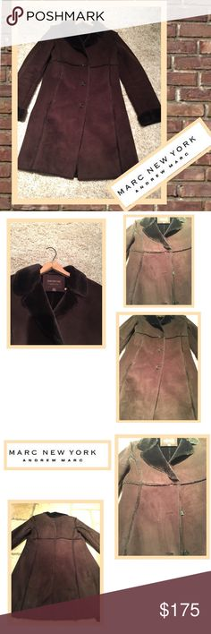"""💨Marc New York shearling coat 💨 Marc New York, Andrew Marc brown shearling coat! So warm and cozy! Fabulous look! 3 bottom closure with side pockets.  Some small stains but with dry cleaning.. should come out and does not effect the beauty of this coat! Small- 35.5"""" length, 24.5"""" sleeve length w cuff(and can be rolled up more or less), 18.5"""" across chest. Marc New York, Andrew Marc Jackets & Coats Pea Coats"""