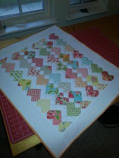 Quilt I made from a Marmalade charm pack and Zigzag Love pattern from a lady on Craftsy.  Fun project that is great for any skill level.  Pattern has sizes for table topper to bigger quilts using charm packs, jelly rolls etc.
