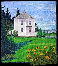 Home sweet home landscape quilt   maybe this is the way I get to own all those lovely houses!