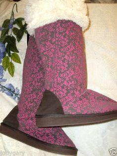 NEW WOMENS DESIGNER MUKLUKS PINK BROWN COMFY CLOTH WINTER URBAN ANTHRO BOOTS XL $33.99