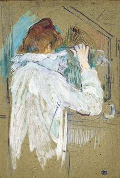 Art Print: Woman Curling Her Hair by Henri de Toulouse-Lautrec : Henri De Toulouse-lautrec, Famous Artists Paintings, Fine Art Drawing, Impressionist Artists, Chef D Oeuvre, Monet, Museum Of Fine Arts, Renoir, French Artists