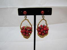 Vintage Screw Back Earrings W.Germany Handwoven Basket Fruit