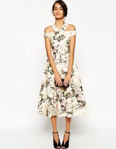 Изображение 1 из Вечернее платье с бретельками и гобеленовым принтом роз ASOS