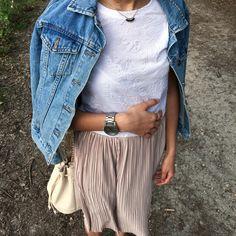 Jupe plissée + veste en jean