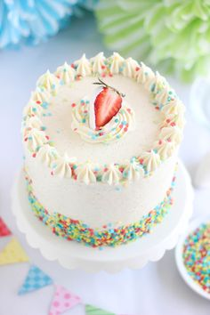 Sprinkle Bakes: Strawberry Confetti Cake and Vanilla From Tahiti Giveaway!